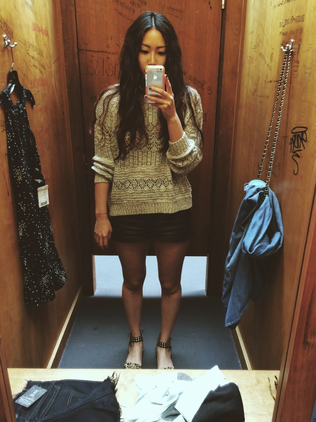fitting room selfie